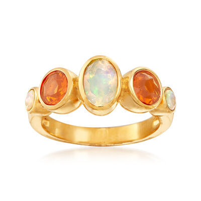 Orange and White Opal Ring in 18kt Gold Over Sterling