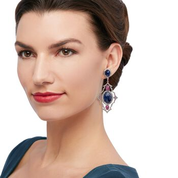 40.80 ct. t.w. Opaque Pink and Blue Sapphire Drop Earrings With 2.95 ct. t.w. Diamonds in Sterling, , default