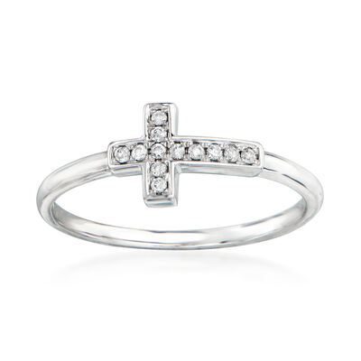 C. 1990 Vintage .10 ct. t.w. Diamond Cross Ring in 14kt White Gold