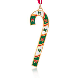 Wallace 2018 Annual Enamel and Gold Plate Candy Cane Ornament - 38th Edition, , default