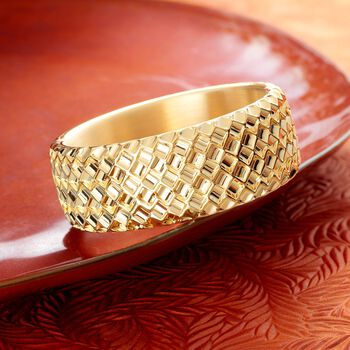 Italian Andiamo 14kt Yellow Gold Basketweave Bangle Bracelet. 7.5""