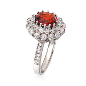 C. 1990 Vintage 2.65 Carat Garnet and .75 ct. t.w. Diamond Ring in 18kt White Gold. Size 8.5, , default