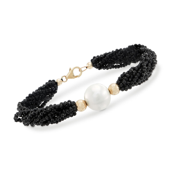 13-14mm Cultured Pearl and 75.00 ct. t.w. Black Spinel Bead Bracelet in 14kt Yellow Gold, , default