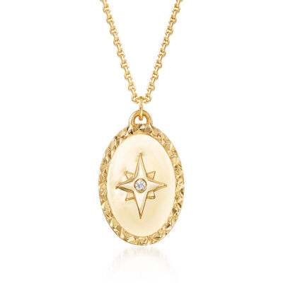 14kt Yellow Gold Star Oval Medallion Necklace with Diamond Accent