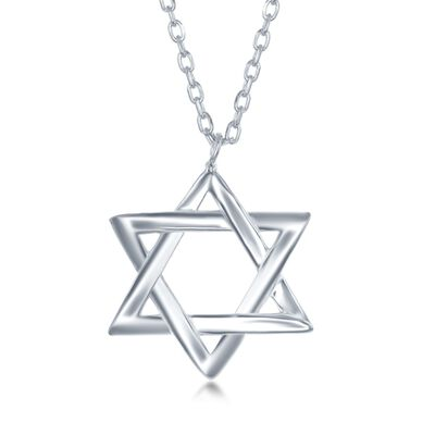 Sterling Silver Star of David Drop Necklace, , default