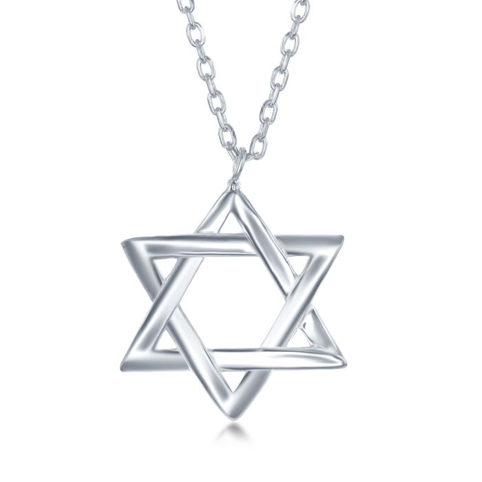 "Sterling Silver Star of David Drop Necklace. 16.5"", , default"