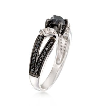 .99 ct. t.w. Black and White Diamond Ring in Sterling Silver. Size 9, , default