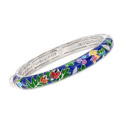 """Belle Etoile """"Ladybug"""" Blue Enamel and .25 ct. t.w. CZ Bangle Bracelet in Sterling Silver, , default"""