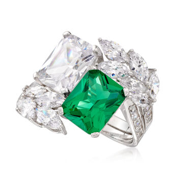 Simulated Emerald and 6.85 ct. t.w. CZ Ring in Sterling Silver, , default