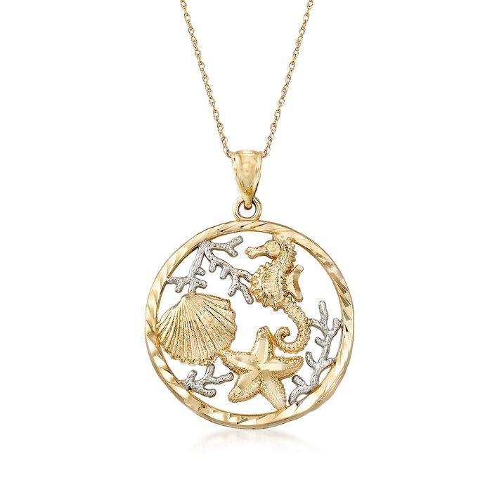 14kt Two-Tone Gold Sealife Pendant Necklace, , default
