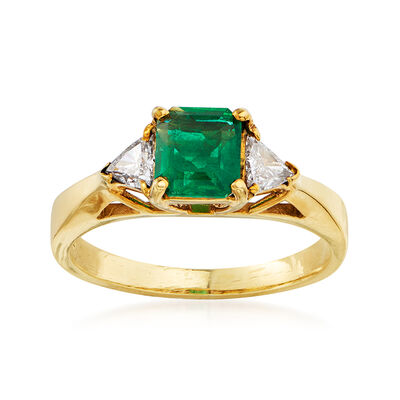 C. 1980 Vintage .60 Carat Emerald and .30 ct. t.w. Diamond Ring in 18kt Yellow Gold