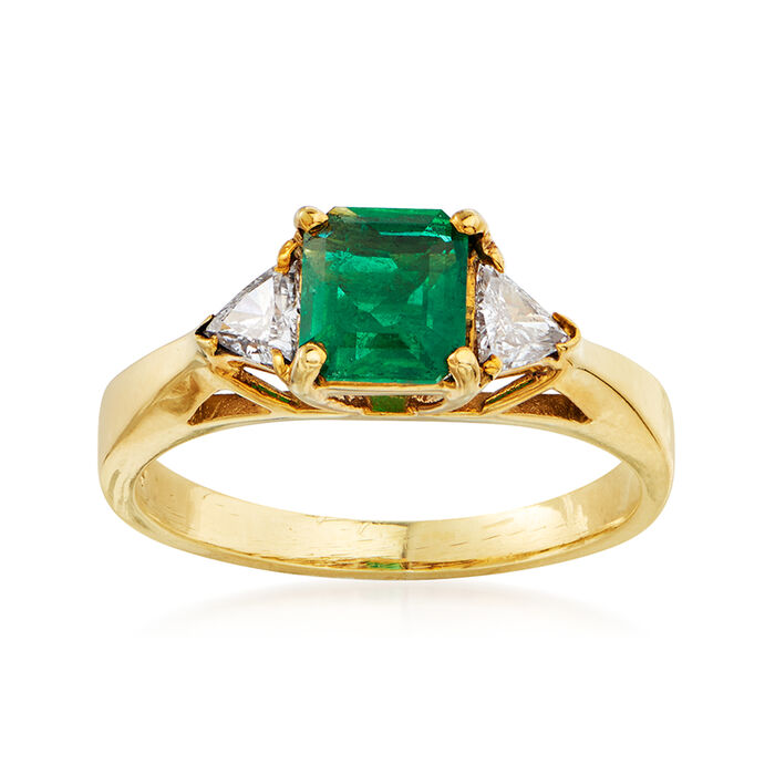 C. 1980 Vintage .60 Carat Emerald and .30 ct. t.w. Diamond Ring in 18kt Yellow Gold. Size 5.5, , default