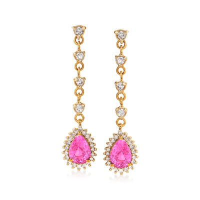 1.70 ct. t.w. Pink Sapphire and .48 ct. t.w. Diamond Drop Earrings in 14kt Yellow Gold, , default