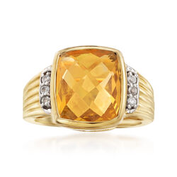 3.80 Carat Citrine and .10 ct. t.w. White Topaz Ring in 14kt Gold Over Sterling, , default