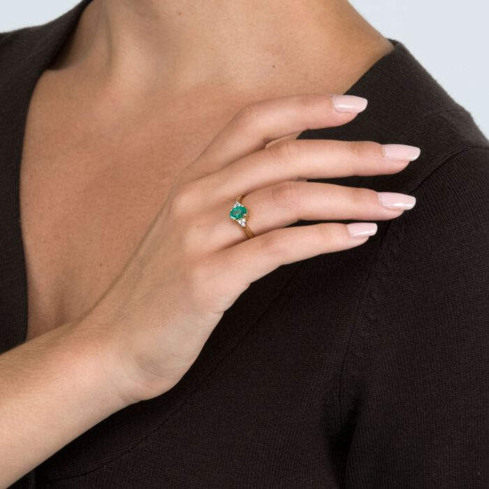 .60 Carat Emerald Ring with Diamond Accents in 14kt Yellow Gold