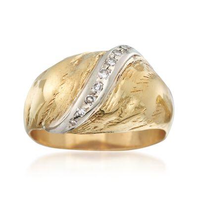 C. 1970 Vintage .10 ct. t.w. Diamond Sash Ring in 18kt Yellow Gold, , default