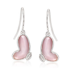 Pink Mother-Of-Pearl Butterfly Wing Drop Earrings With Diamond Accents in Sterling Silver , , default