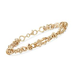 18kt Yellow Gold Over Sterling Silver Alternating Link Bracelet, , default