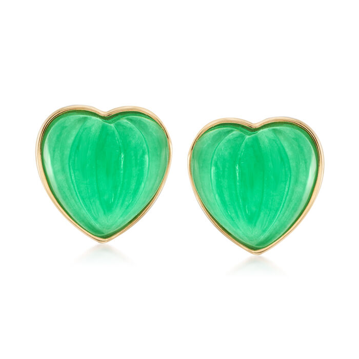 13mm Carved Green Jade Heart Earrings in 14kt Yellow Gold