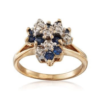 C. 1970 Vintage .50 ct. t.w. Sapphire and .10 ct. t.w. Diamond Cluster Ring in 14kt Yellow Gold. Size 5.75, , default