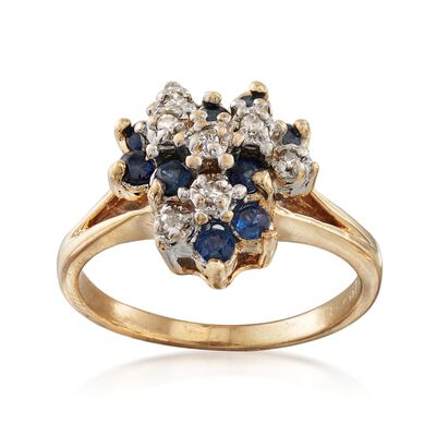C. 1970 Vintage .50 ct. t.w. Sapphire and .10 ct. t.w. Diamond Cluster Ring in 14kt Yellow Gold, , default