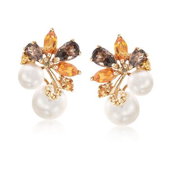 6-8.5mm Cultured Pearl and 2.30 ct. t.w. Multi-Stone Cluster Drop Earrings in 18kt Gold Over Sterling, , default