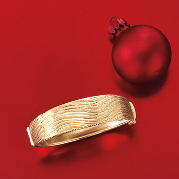 Italian 18kt Yellow Gold Wavy Bangle Bracelet, , default