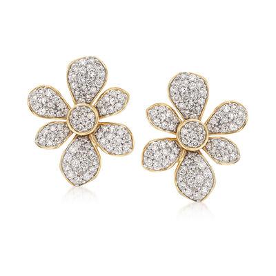 1.50 ct. t.w. Diamond Flower Earrings in 14kt Yellow Gold, , default