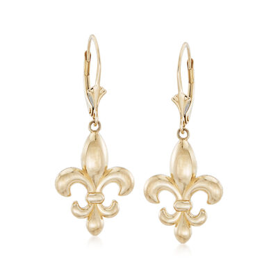 Italian 14kt Yellow Gold Fleur-De-Lis Drop Earrings
