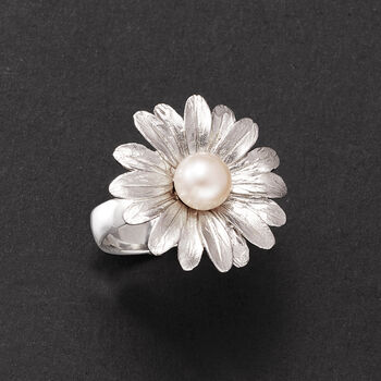 Italian 7.5-8mm Cultured Pearl Sunflower Ring in Sterling Silver, , default