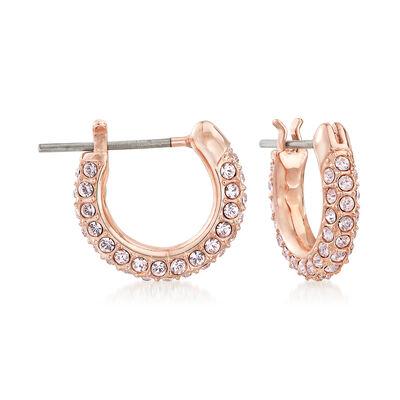 Swarovski Crystal Pink Crystal Huggie Hoop Earrings in Rose Gold-Plated Metal, , default