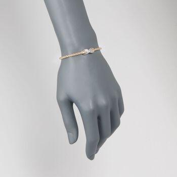 "Charles Garnier ""Infinity"" .50 ct. t.w. CZ Bolo Bracelet in Two-Tone Sterling Silver. 7"""
