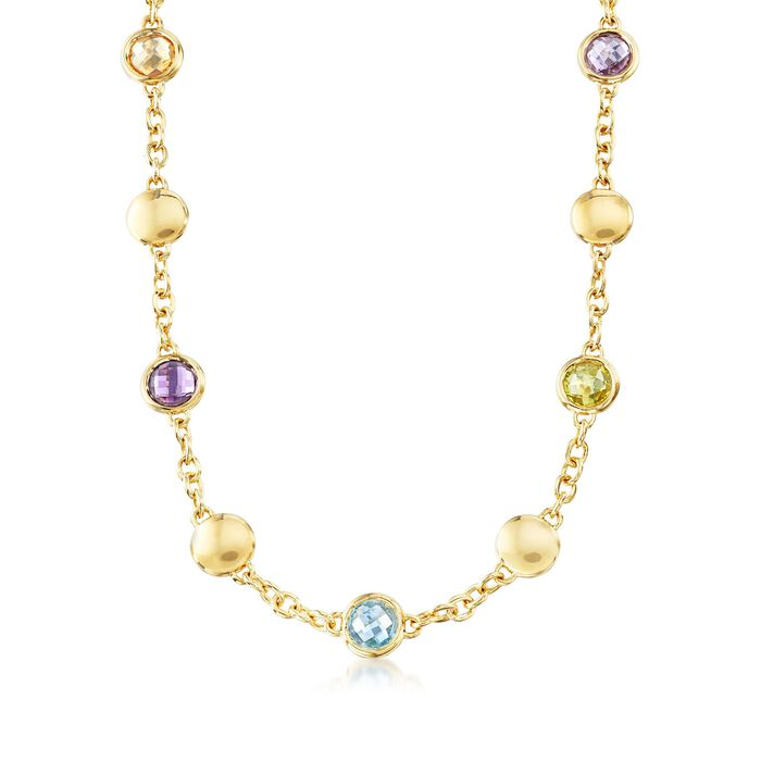 Andiamo 14kt Yellow Gold and 3.30 ct. t.w. Multi-Stone Necklace, , default