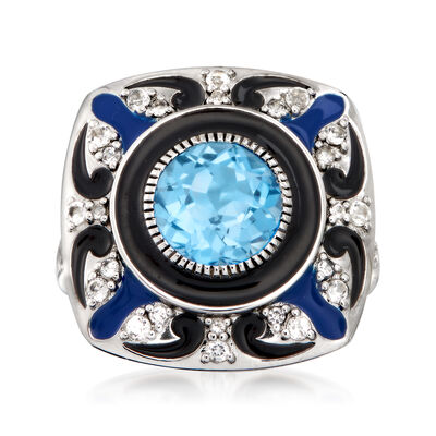 3.10 ct. t.w. Swiss Blue and White Topaz Enamel Ring in Sterling Silver