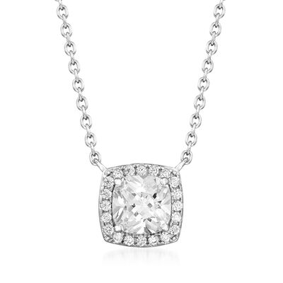 2.10 ct. t.w. CZ Square Pendant Necklace in Sterling Silver