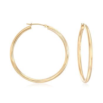 "2.5mm 14kt Yellow Gold Hoop Earrings. 1 1/2"", , default"