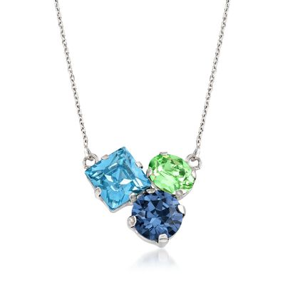 Italian Sterling Silver Necklace with Blue and Green Swarovski Crystals, , default