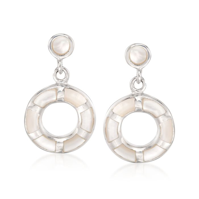 Mother-Of-Pearl Open Circle Drop Earrings in Sterling Silver