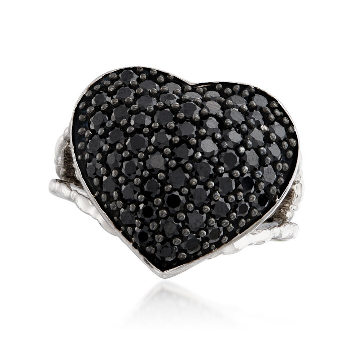 2.60 ct. t.w. Black Spinel Heart Ring in Sterling Silver