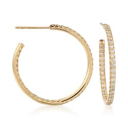"Roberto Coin .80 ct. t.w. Diamond Inside-Outside Hoop Earrings in 18kt Yellow Gold. 1"", , default"