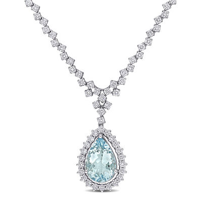2.67 Carat Aquamarine and 1.46 ct. t.w. Diamond Drop Necklace in 14kt White Gold