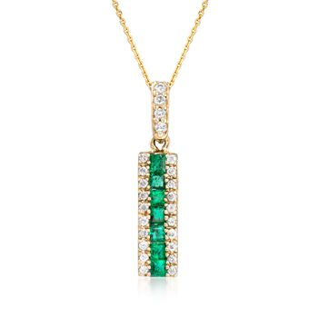 """.30 ct. t.w. Emerald and .15 ct. t.w. Diamond Linear Pendant Necklace in 14kt Yellow Gold. 16"""", , default"""