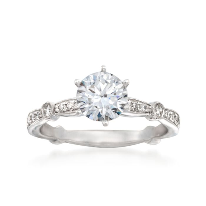 Simon G. .28 ct. t.w. Diamond Engagement Ring Setting in 18kt White Gold, , default