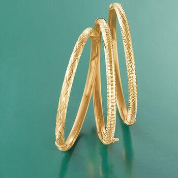 14kt Yellow Gold Crisscross Bangle Bracelet, , default