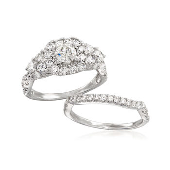 2.00 ct. t.w. Diamond Bridal Set: Engagement and Wedding Rings in 14kt White Gold. Size 7, , default