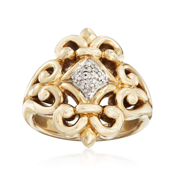 Fleur-De-Lis Ring with Diamond Accents in 14kt Yellow Gold, , default