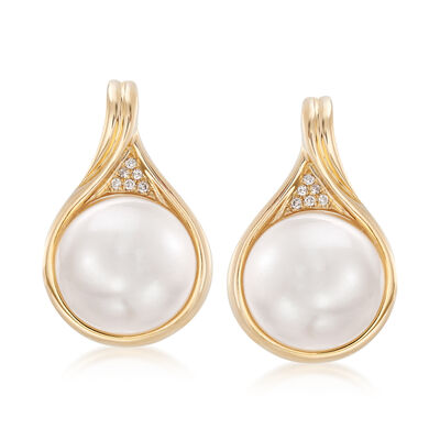 11-11.5mm Mabe Pearl Earrings in 14kt Yellow Gold with Diamond Accents, , default