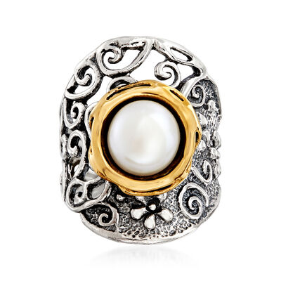 10mm Cultured Pearl Ring in Sterling Silver and 14kt Yellow Gold