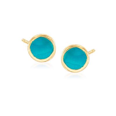 Turquoise Enamel Stud Earrings in 14kt Yellow Gold, , default