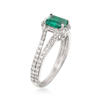 .60 Carat Emerald and .65 ct. t.w. Diamond Ring in 14kt White Gold